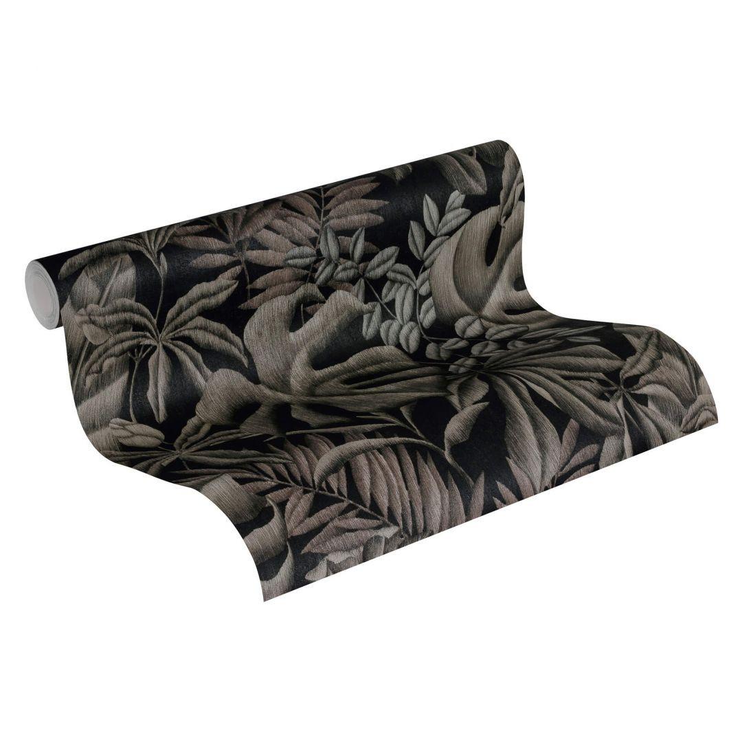 A.S. Création Vliestapete Greenery Tapete mit Palmenprint in Dschungel Optik grau, schwarz - WA268080