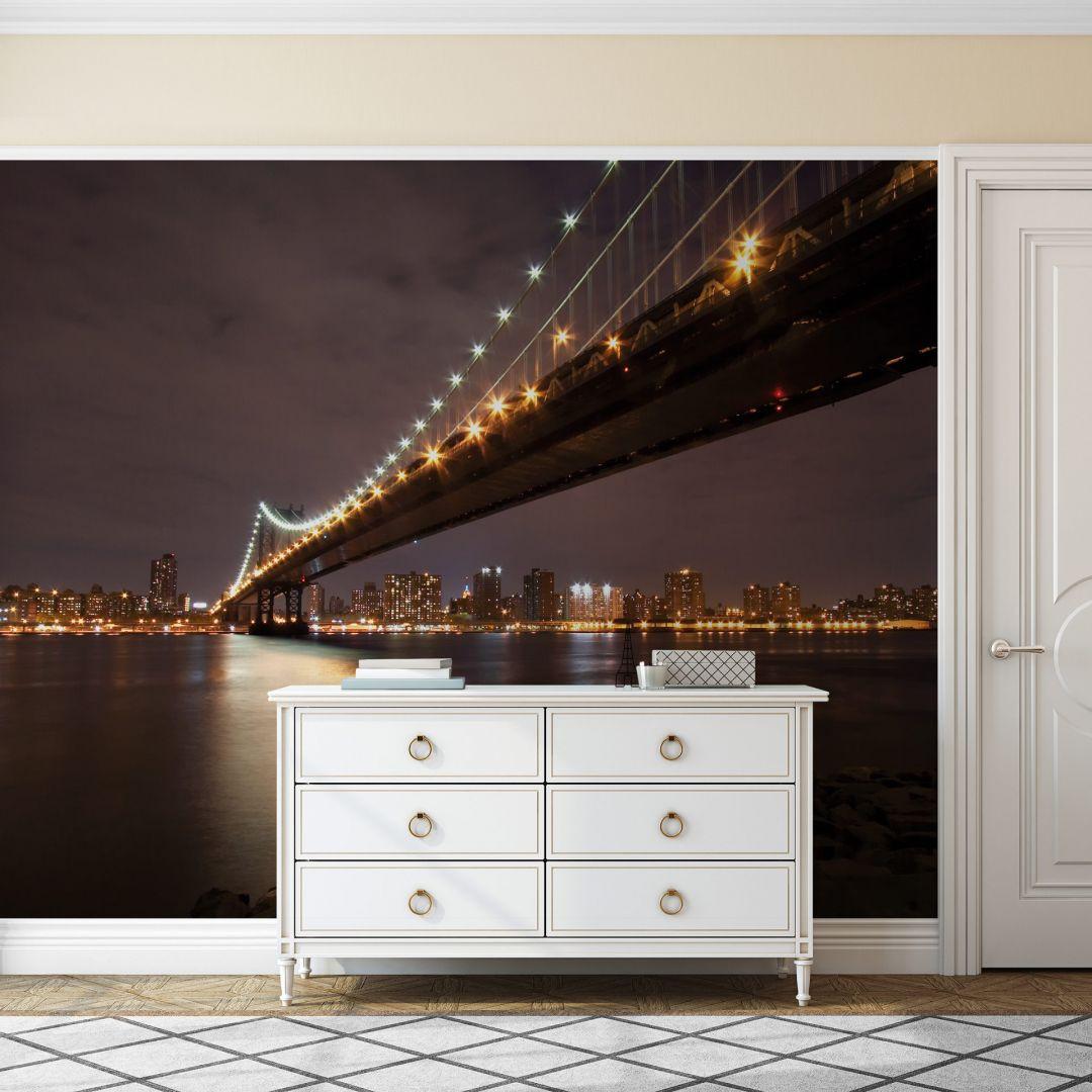 Fototapete Manhattan Bridge at Night - 336x260cm - WA226914