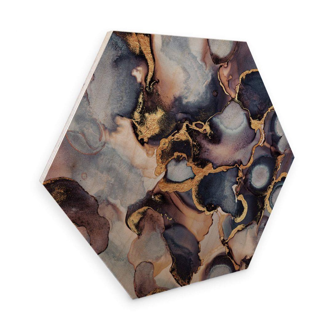 Hexagon - Holz Birke-Furnier - Fredriksson - Tinte: Rosé und Gold - WA253200