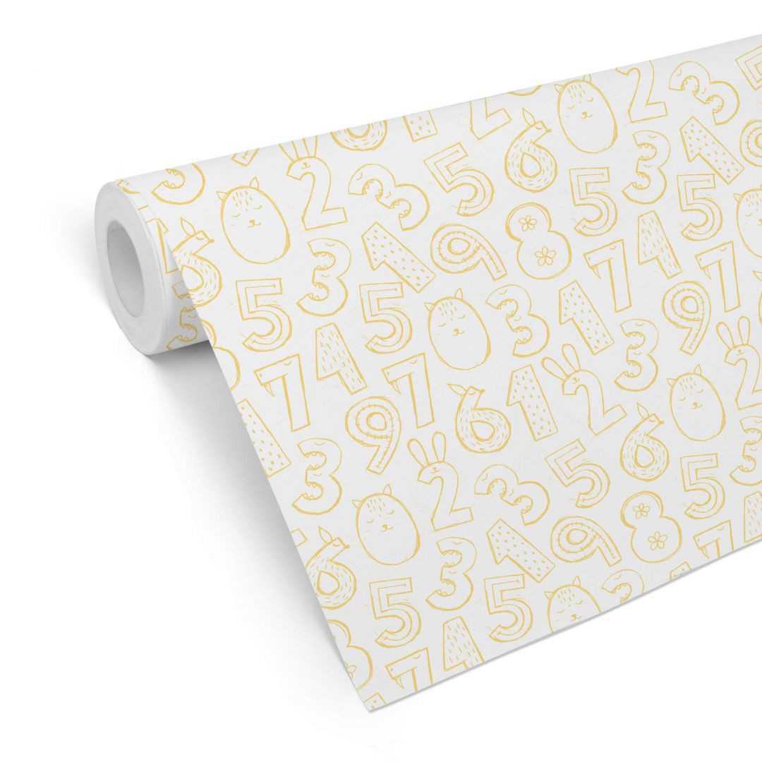 Mustertapete Zahlen 1x1 - gelb - WA255592