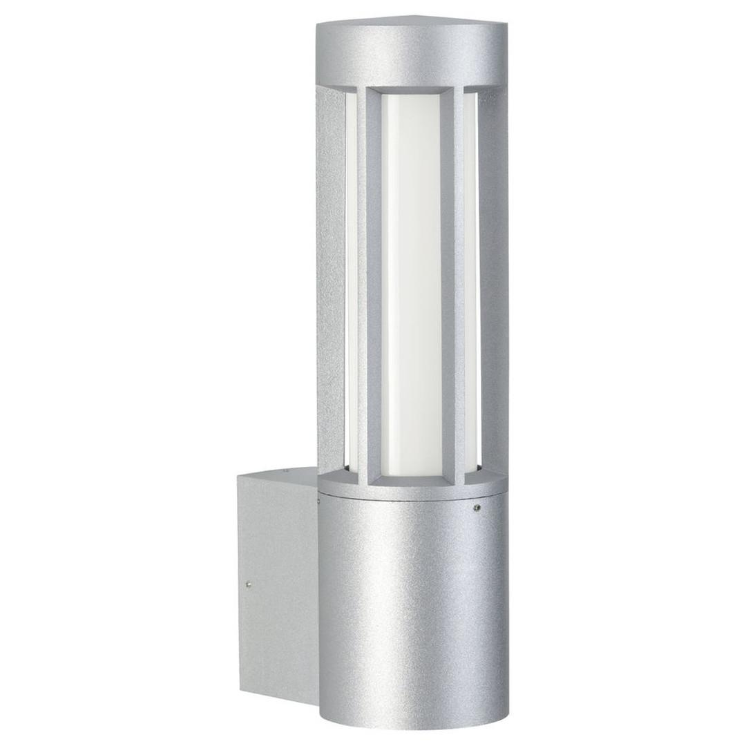 Runde Wandleuchte silber, 2-flammig, Aluguss, Opalglas, IP44 - CL102003