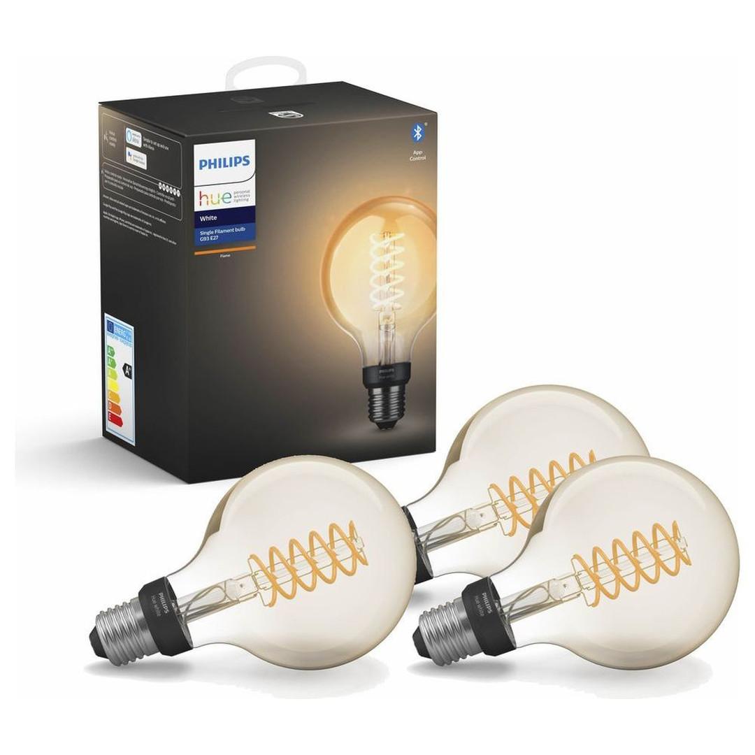 Philips Hue White LED E27 Globe - G93 Filament 7W, 2100 K, dimmbar, Bluetooth, 3er Pack - CL120329