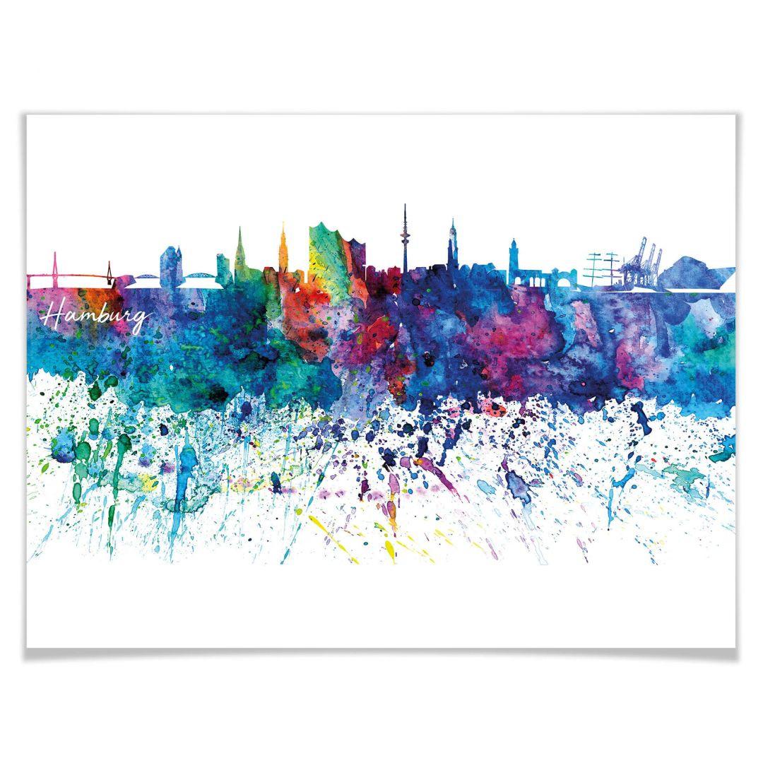 Poster Bleichner - Hamburg Aquarell Skyline - WA256885