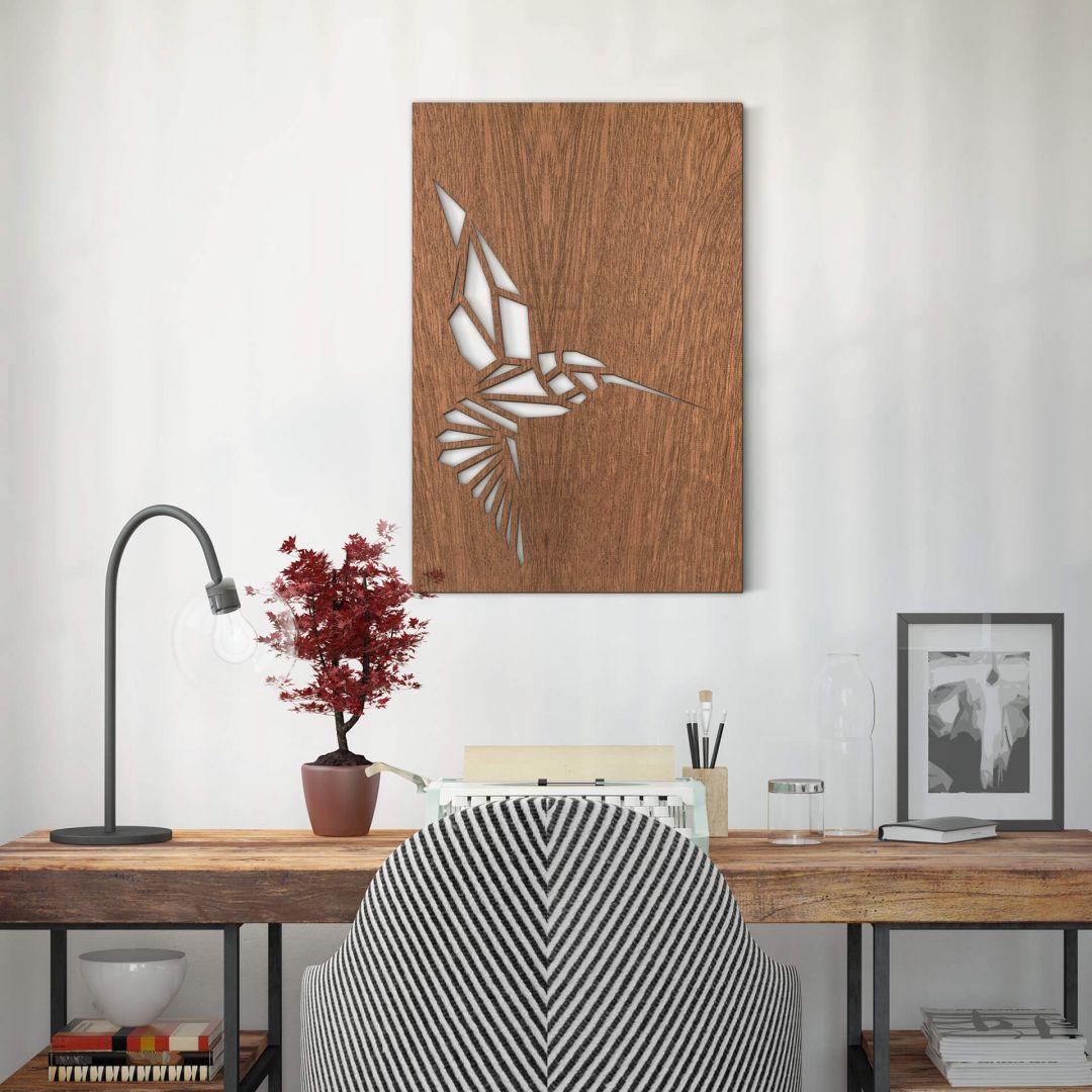 Dekobild Mahagoni - Origami Kolibri - WA288667