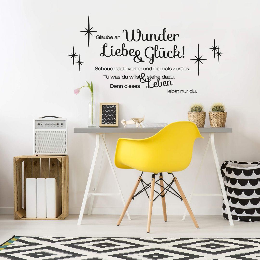 Wandtattoo Wandsticker Sprüche Wohnzimmer Glaube an Wunder,Liebe und Glück Nr 1