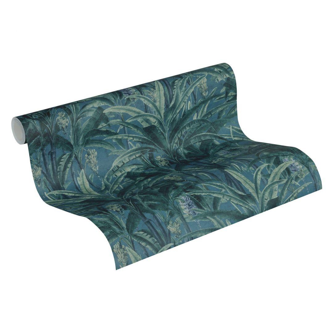 A.S. Création Vliestapete Greenery Tapete mit Palmenprint in Dschungel Optik grün, blau - WA268099