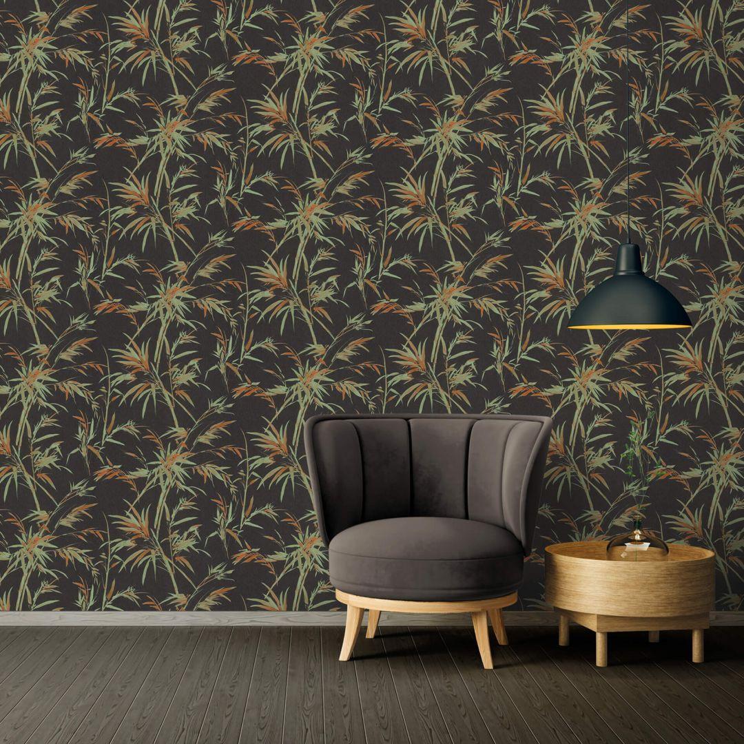 A.S. Création Vliestapete Sumatra Tapete mit Palmenblättern schwarz, grün, orange - WA288308