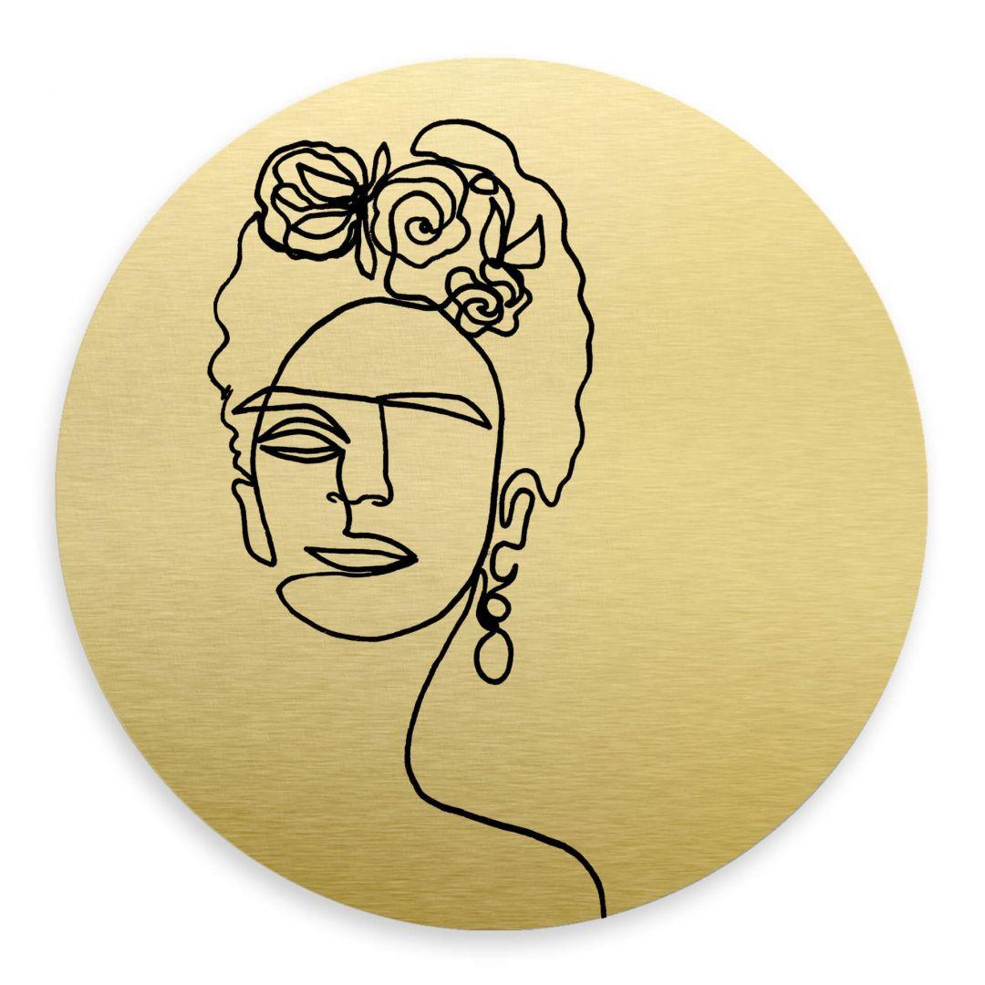 Alu-Dibond-Goldeffekt Hariri - Frida-Kahlo - Rund - WA288536