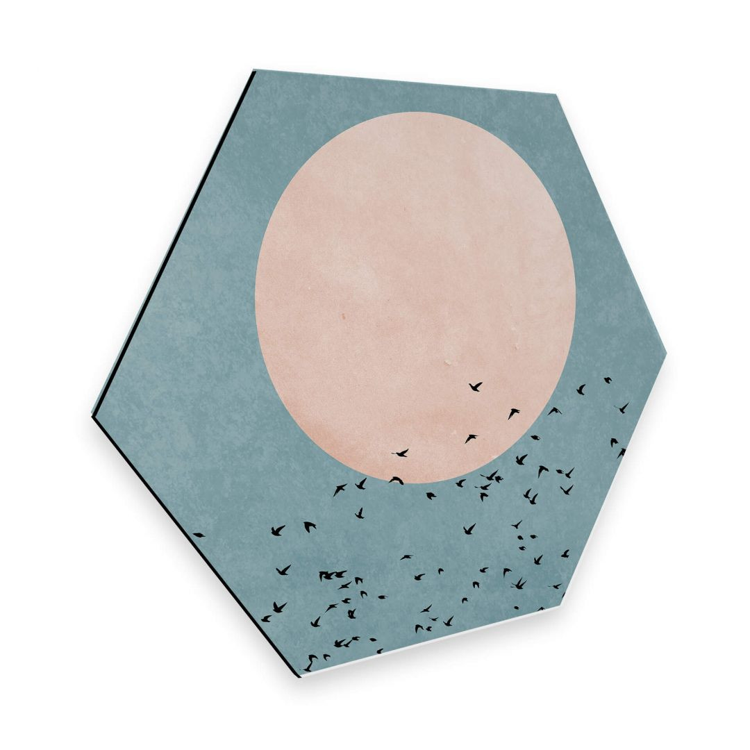 Hexagon - Alu-Dibond - Kubistika - Mondschein - WA253061