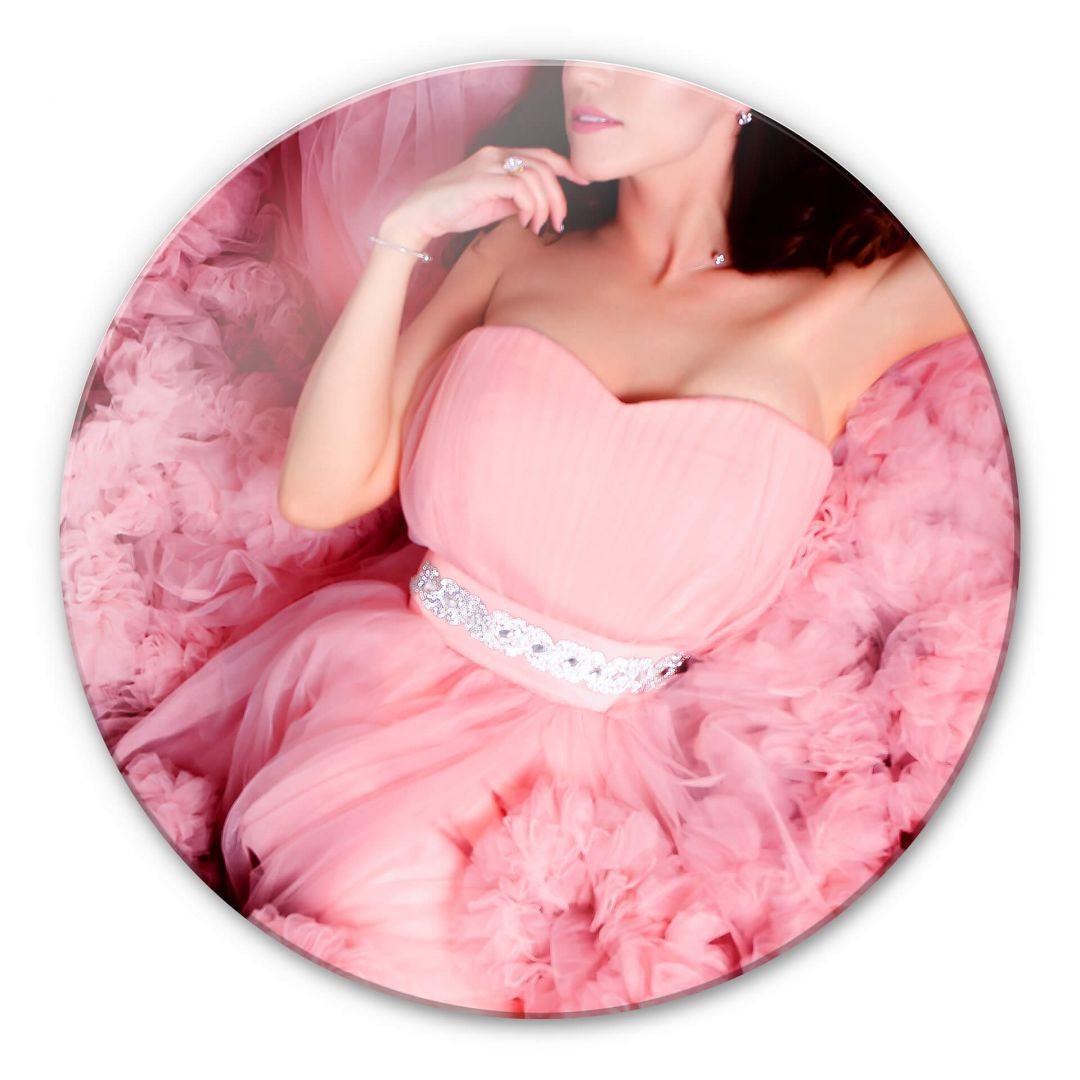 Glasbild Das rosa Kleid - rund - WA252738