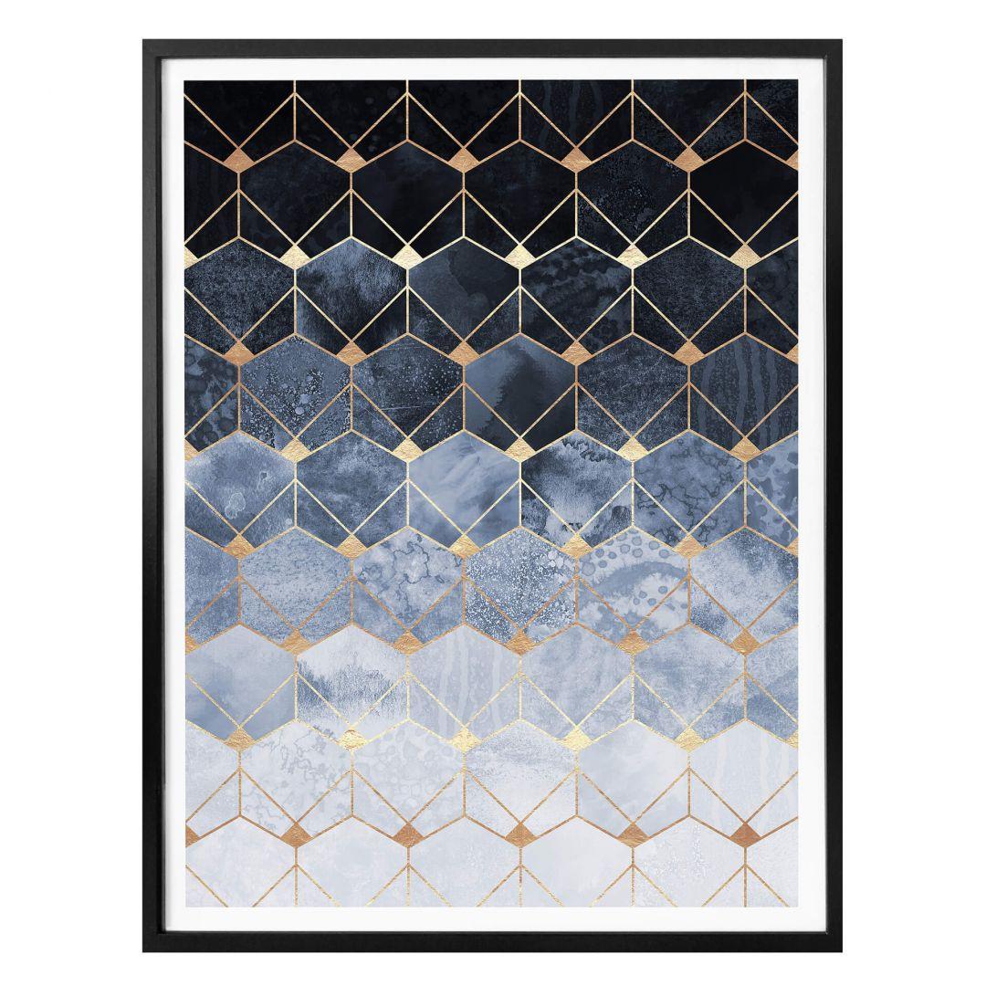 Poster Fredriksson - Hexagone: Blau und Gold - WA257564