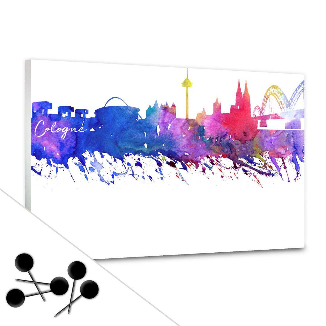 Pinnwand Bleichner - Köln Aquarell Skyline inkl. 5 Pinnnadeln - WA256604