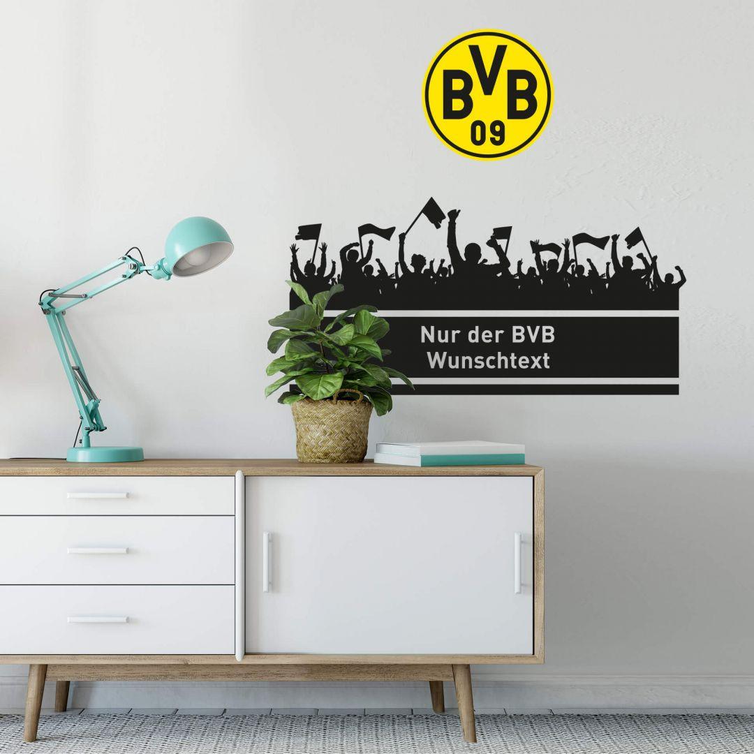 Wandtattoo Nur der BVB Wunschtext mit Logo farbig - WA216583