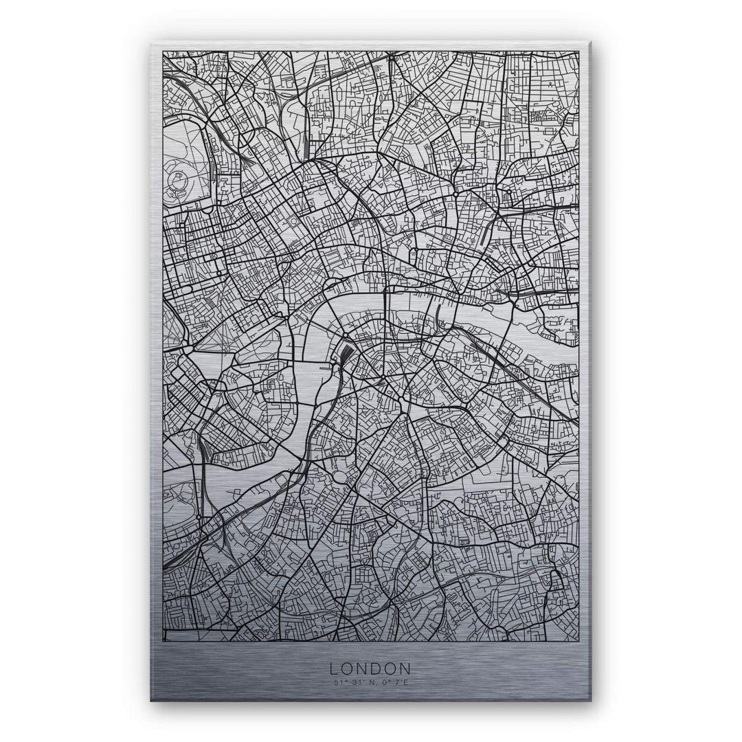 Alu-Dibond-Silbereffekt Stadtplan London - WA252224