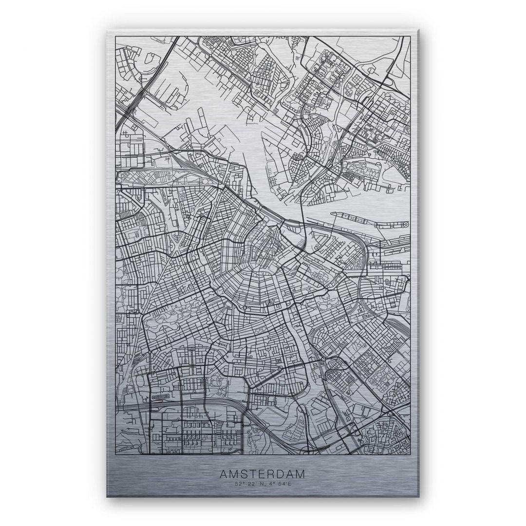 Alu-Dibond-Silbereffekt Stadtplan Amsterdam - WA252208