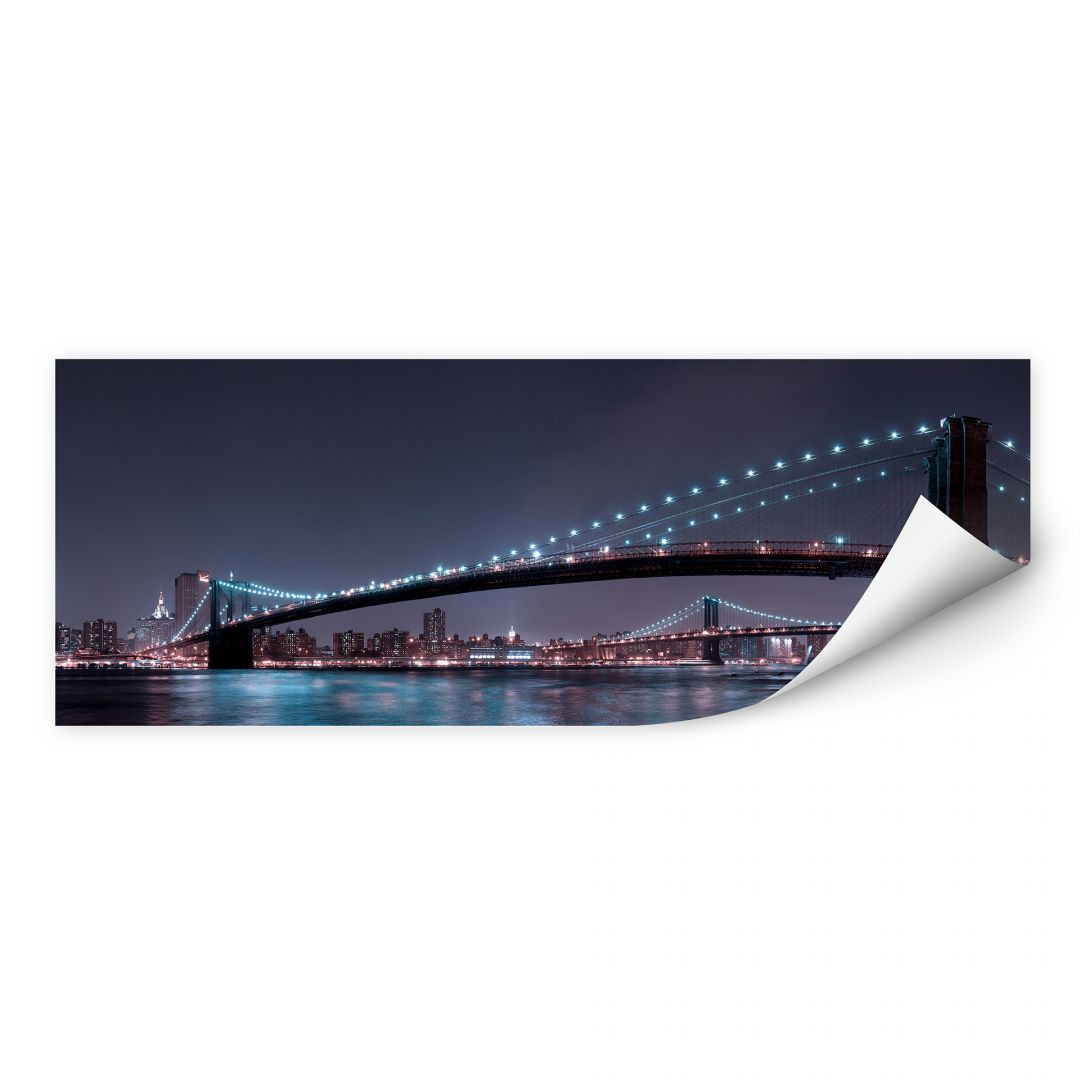 Wallprint Bravin -  Manhattan Skyline bei Nacht - Panorama - WA182104