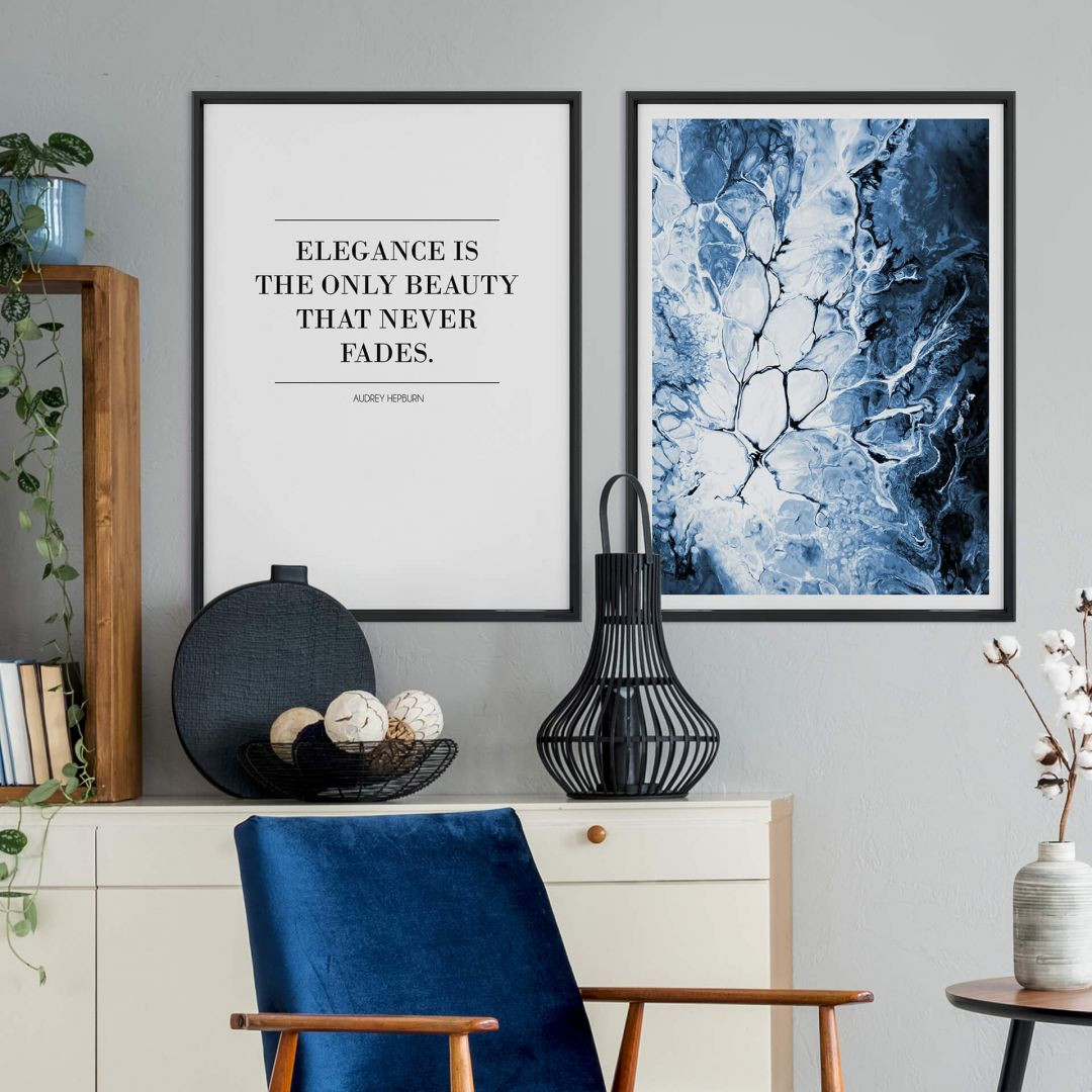 Poster-Set mit Bilderrahmen Blaue Eleganz (2er Set) - WA259269