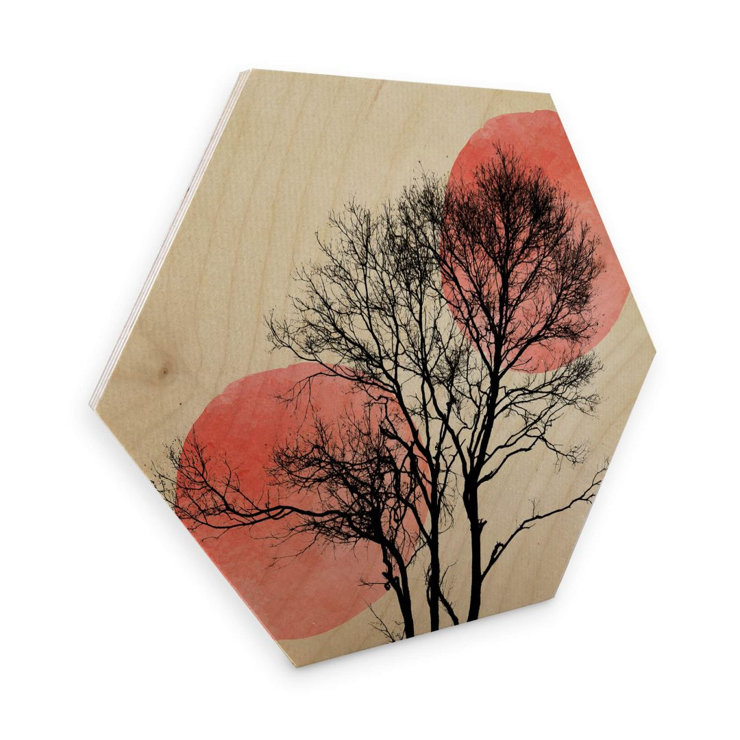 Hexagon - Holz Birke-Furnier - Kubistika - Sonne und Mond hinter dem Baum - WA253292