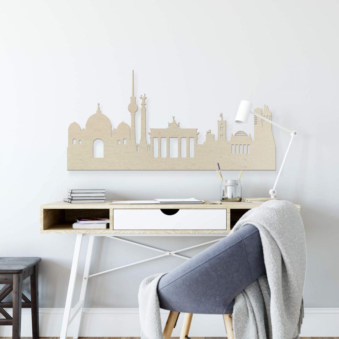 Holzkunst Pappel Furnier - Skyline Berlin - WA253633