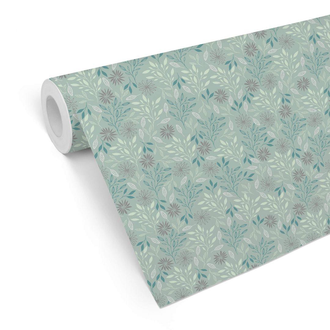 Mustertapete Graphic Flowers - Zweige türkis - WA255565