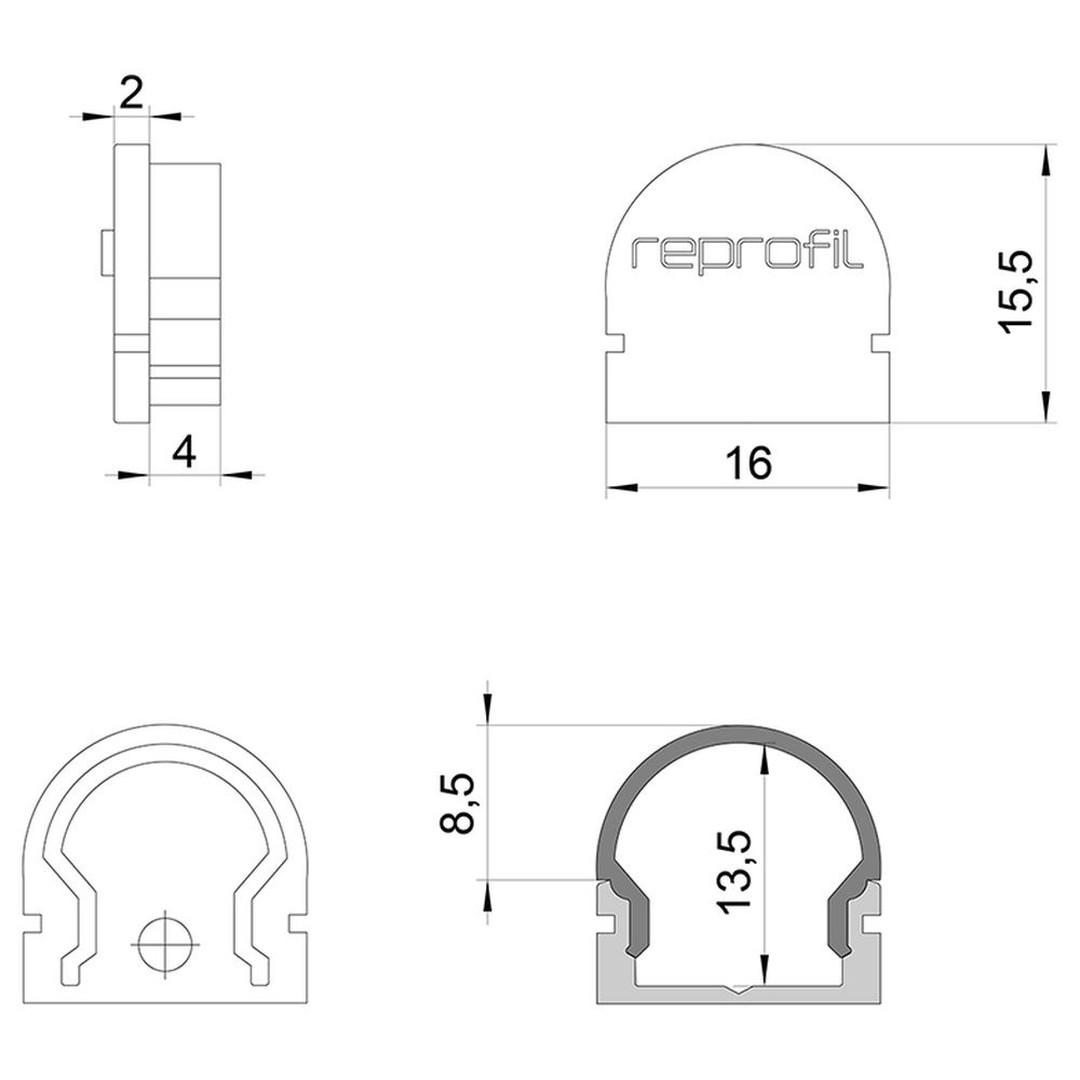 Deko Light Endkappe R AU 200 200. 20er Set, für Abdeckung Rund