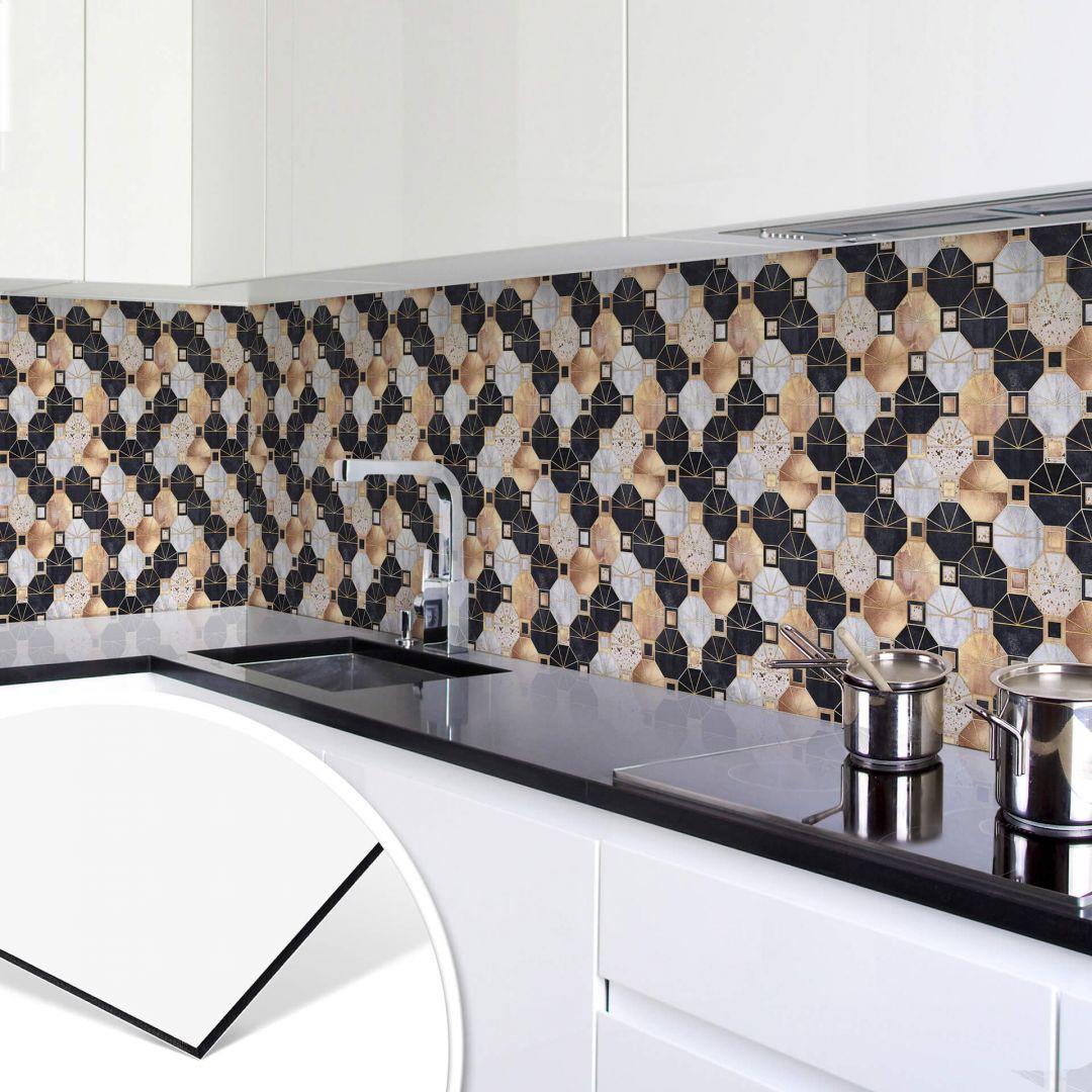 Küchenrückwand Fredriksson - Art Deco: Gold und Schwarz - WA253690