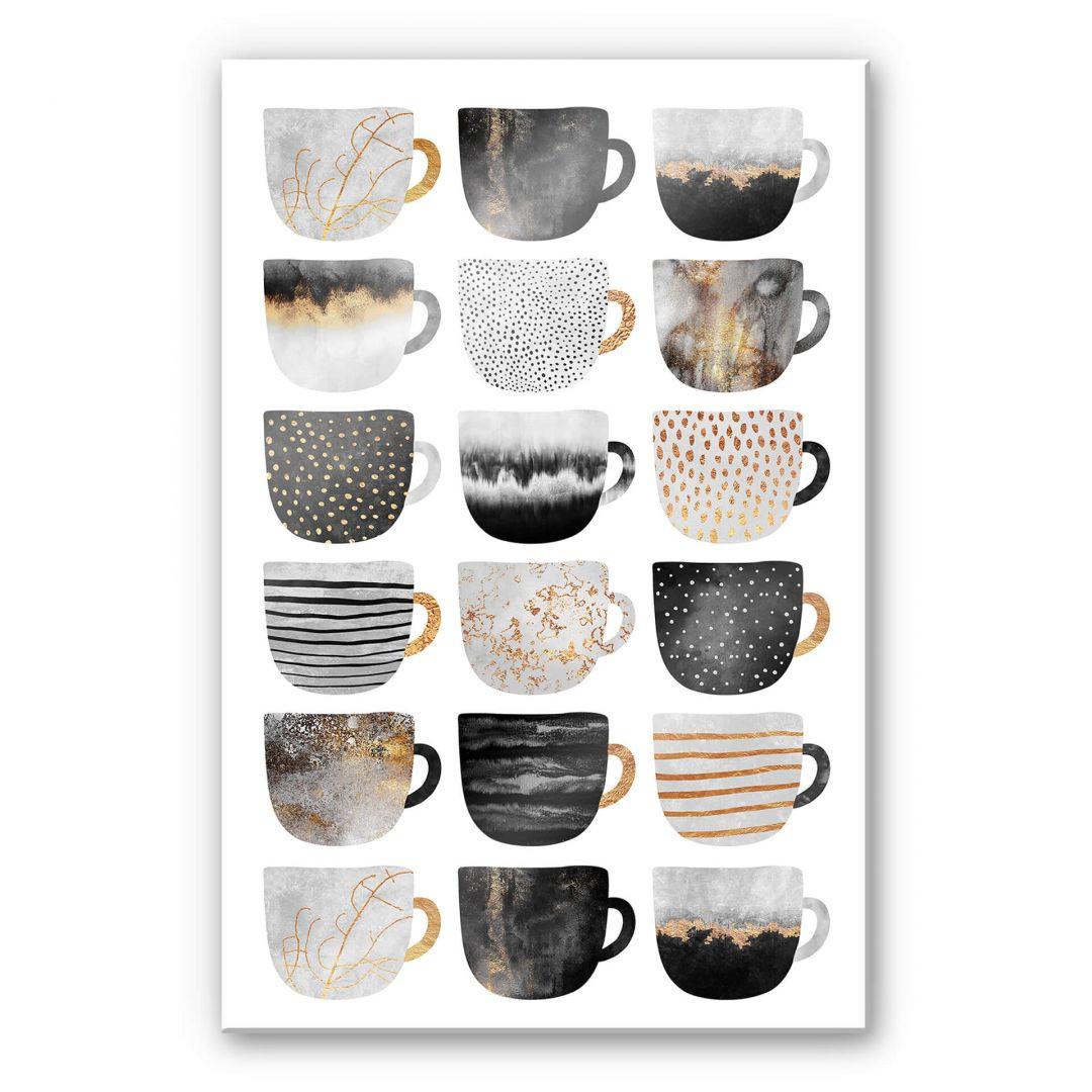 Acrylglasbild Fredriksson - Kaffeetassen: Pretty Black & Gold - WA288431
