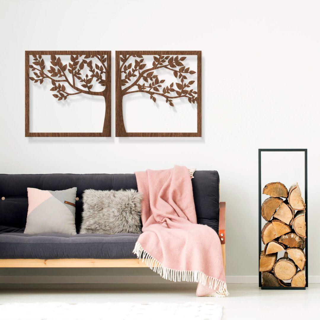 Holzkunst Mahagoni - Prachtvoller Baum (2-teilig) - WA253532