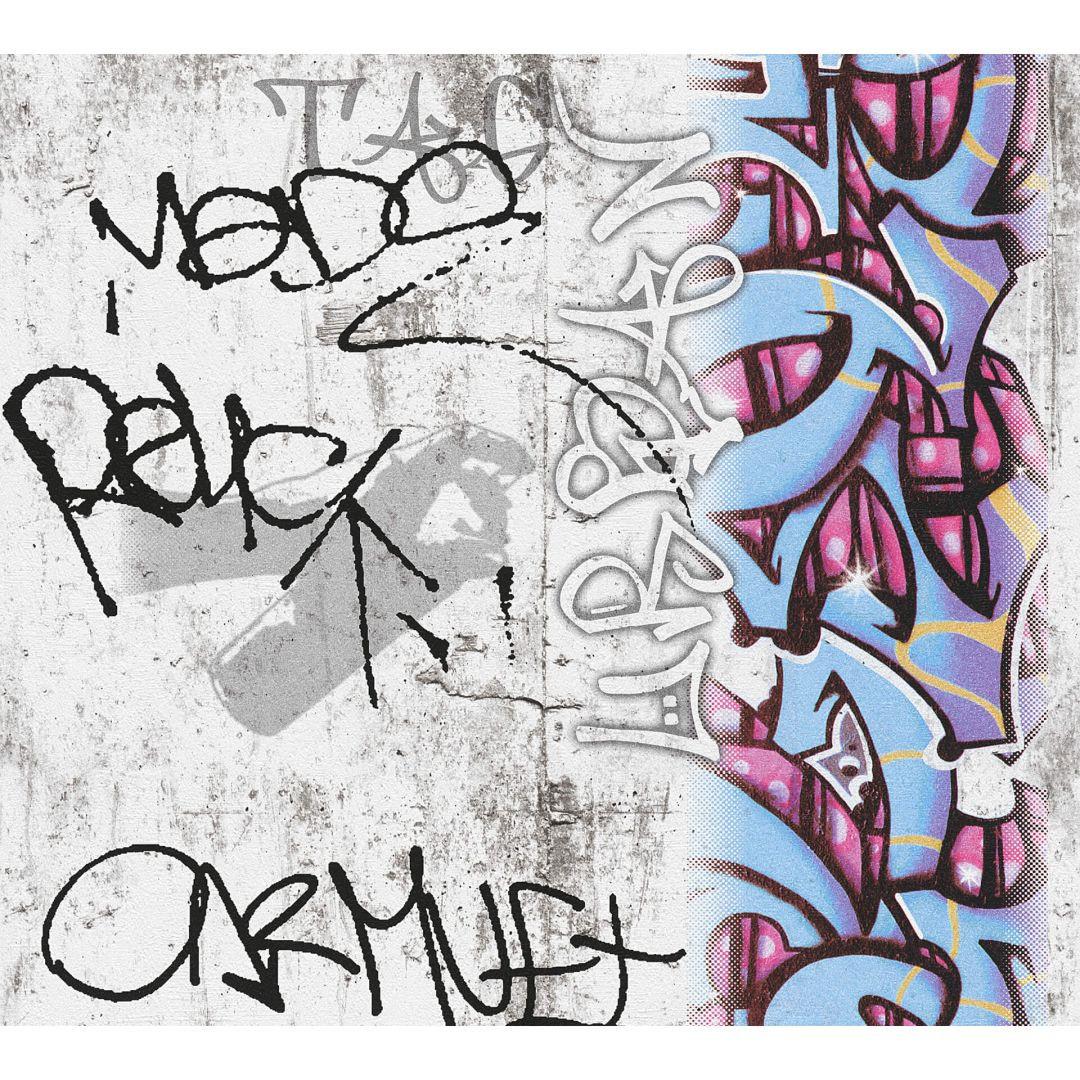 A.S. Création Papiertapete Boys & Girls 6 Tapete mit Graffiti blau, grau, rot - WA267700