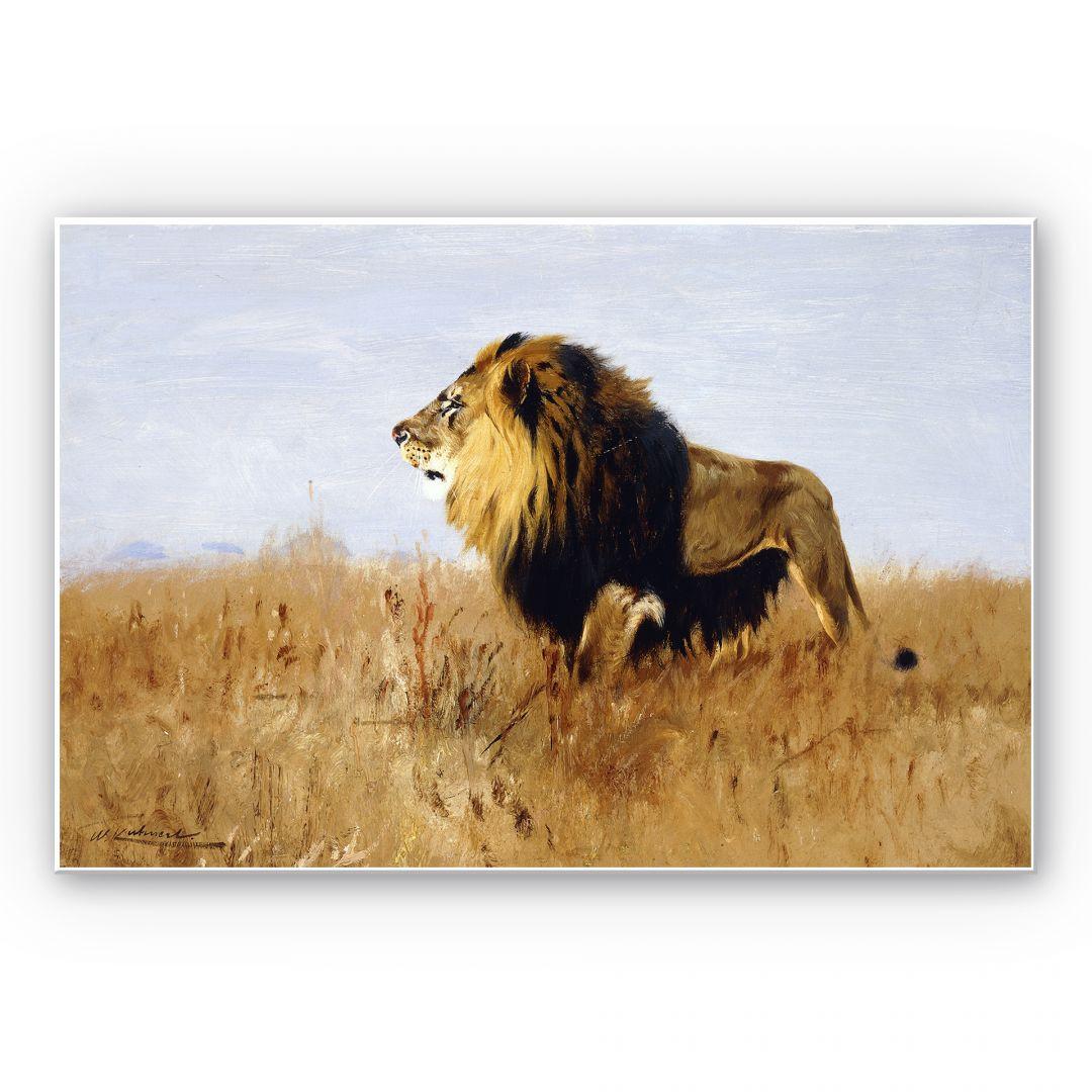 Hartschaumbild Kuhnert - Löwe auf der Suche nach Beute - WA130284