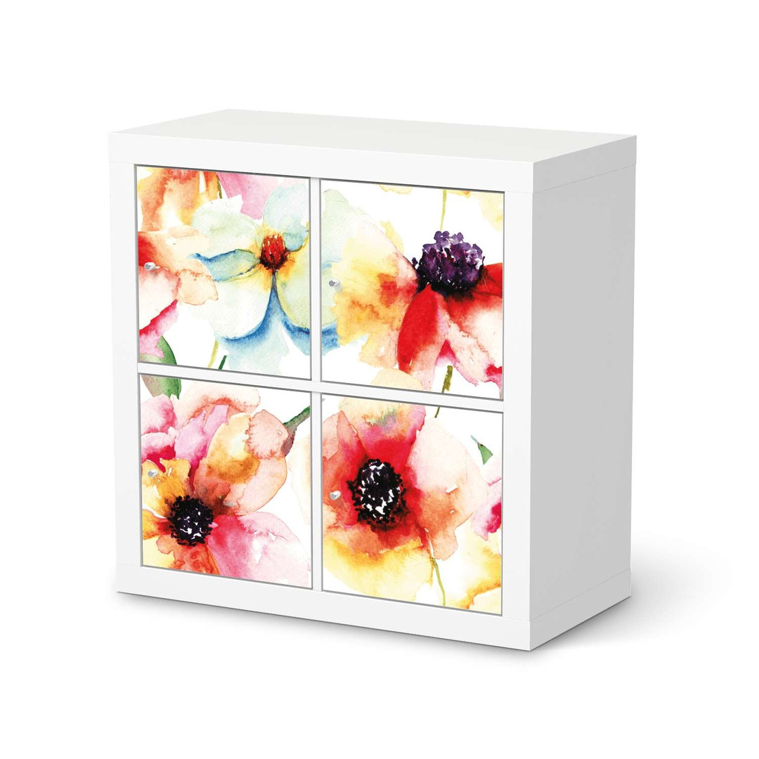 Möbelfolie IKEA Expedit Regal 4 Türen - Water Color Flowers - CR114603