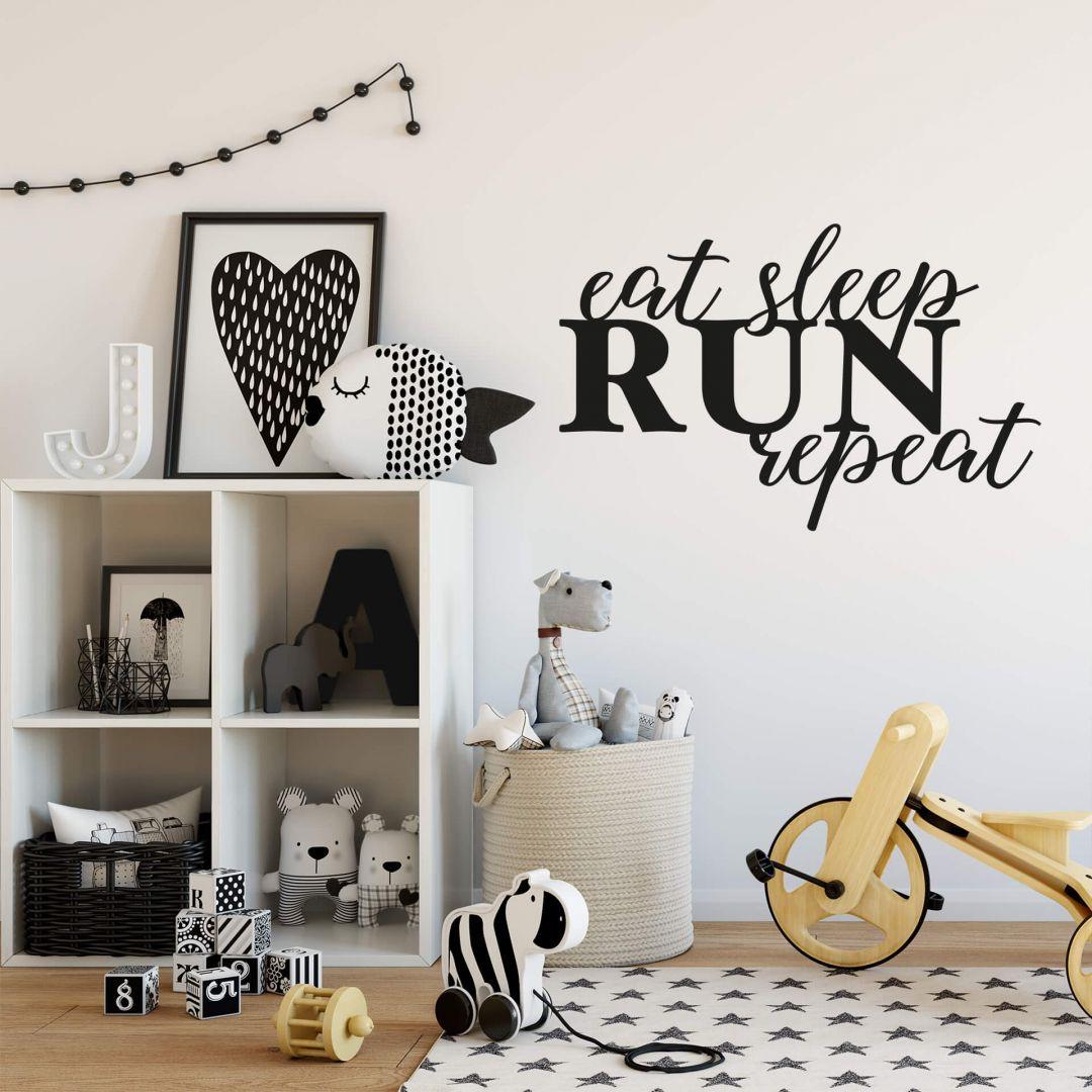 Wandtattoo - Eat sleep run repeat - einfarbig - WA287648