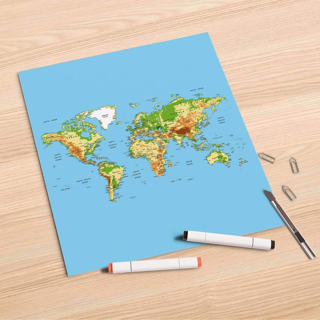 Folienbogen (30x30cm) - Geografische Weltkarte - CR106836