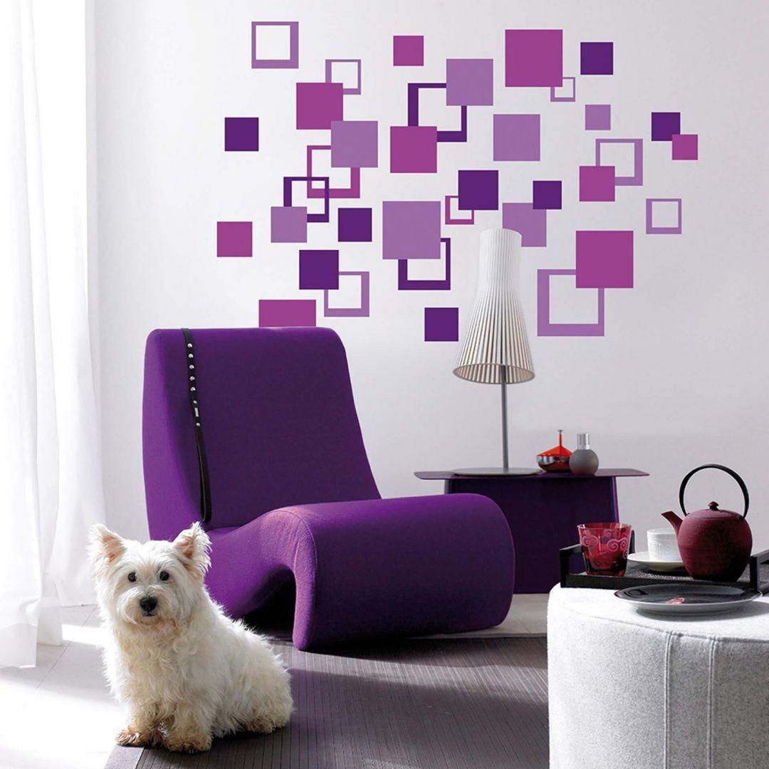 Wandsticker Abstrakt Vierecke Violet - WA290168
