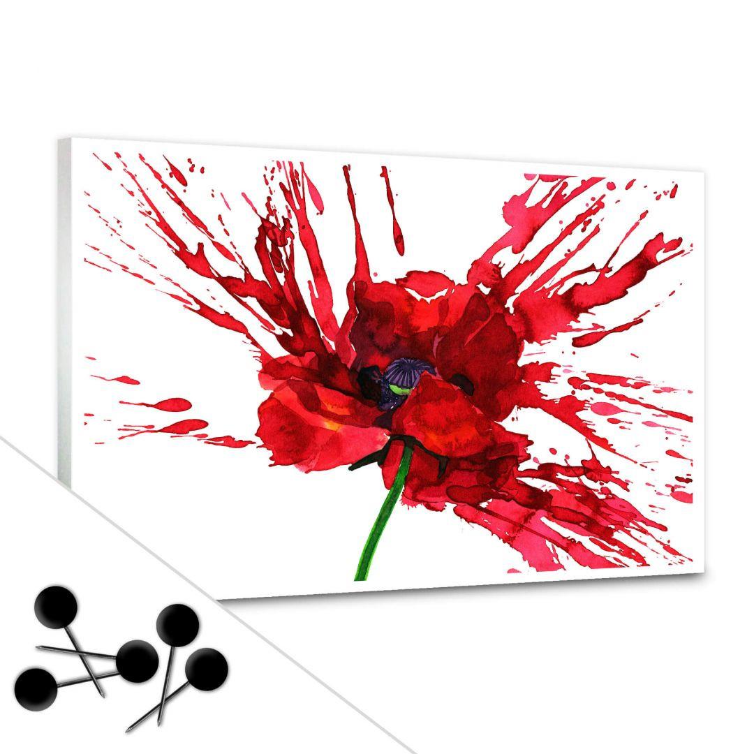 Memoboard Rote Mohnblume inkl. 5 Pinnadeln - WA255448