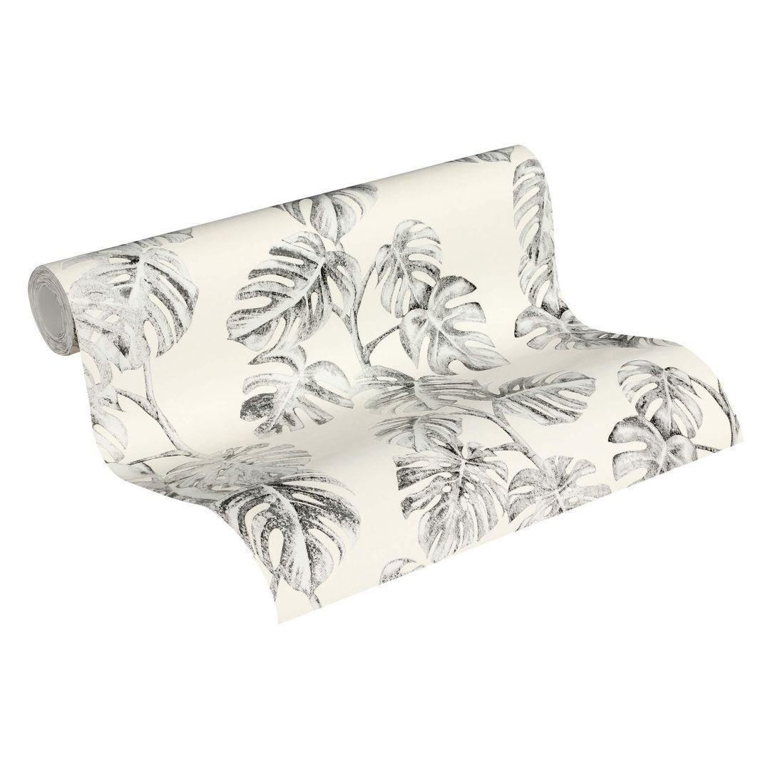 A.S. Création Vliestapete Greenery Tapete mit Palmenprint in Dschungel Optik schwarz, weiss, grau - WA268130
