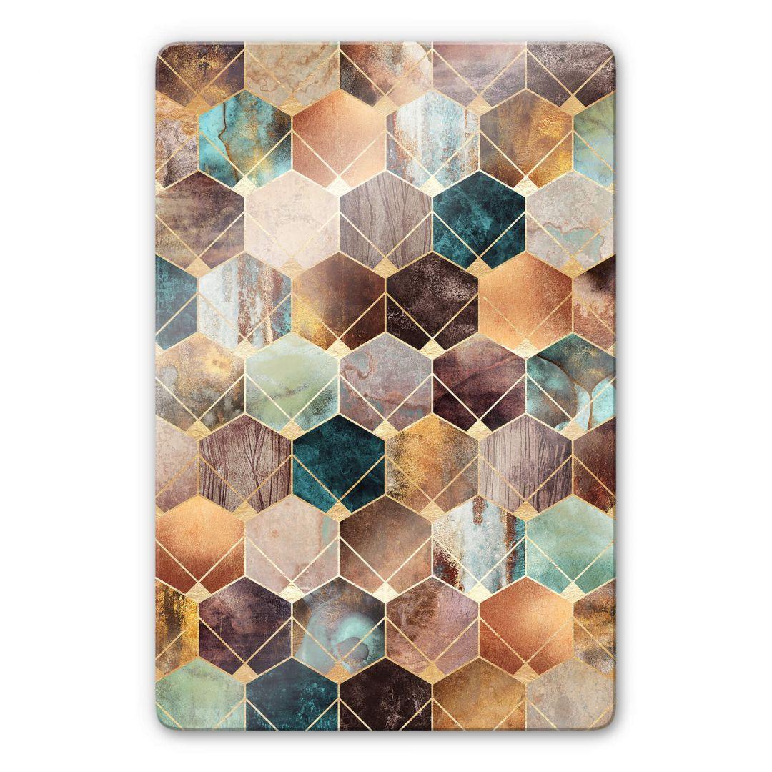 Glasbild Fredriksson - Hexagone: Gold und Kupfer - WA252816