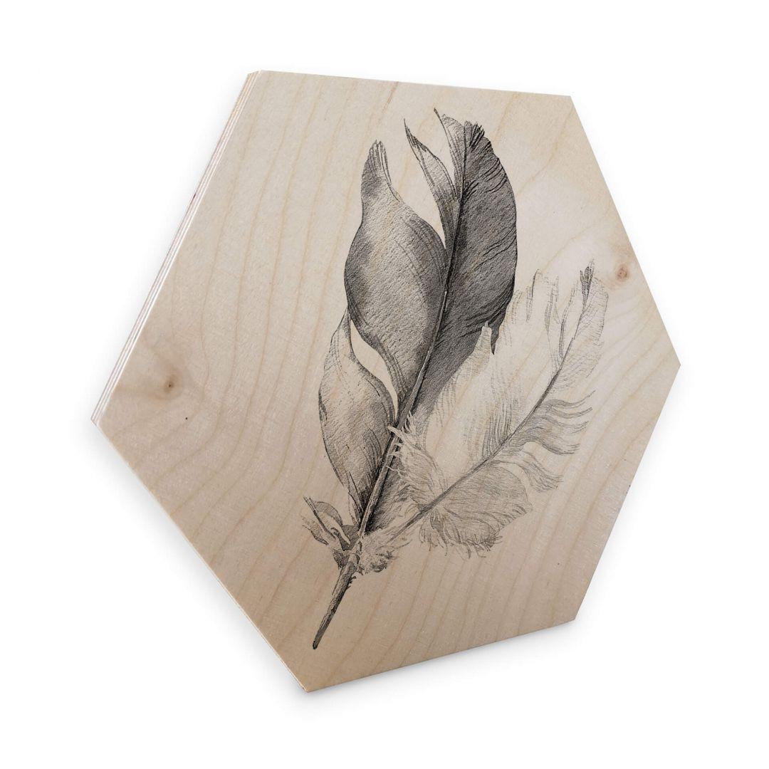 Hexagon - Holz Birke-Furnier - Federn - WA253187