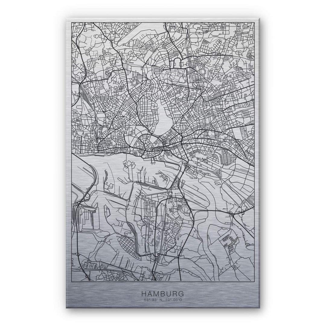 Alu-Dibond-Silbereffekt Stadtplan Hamburg - WA252216