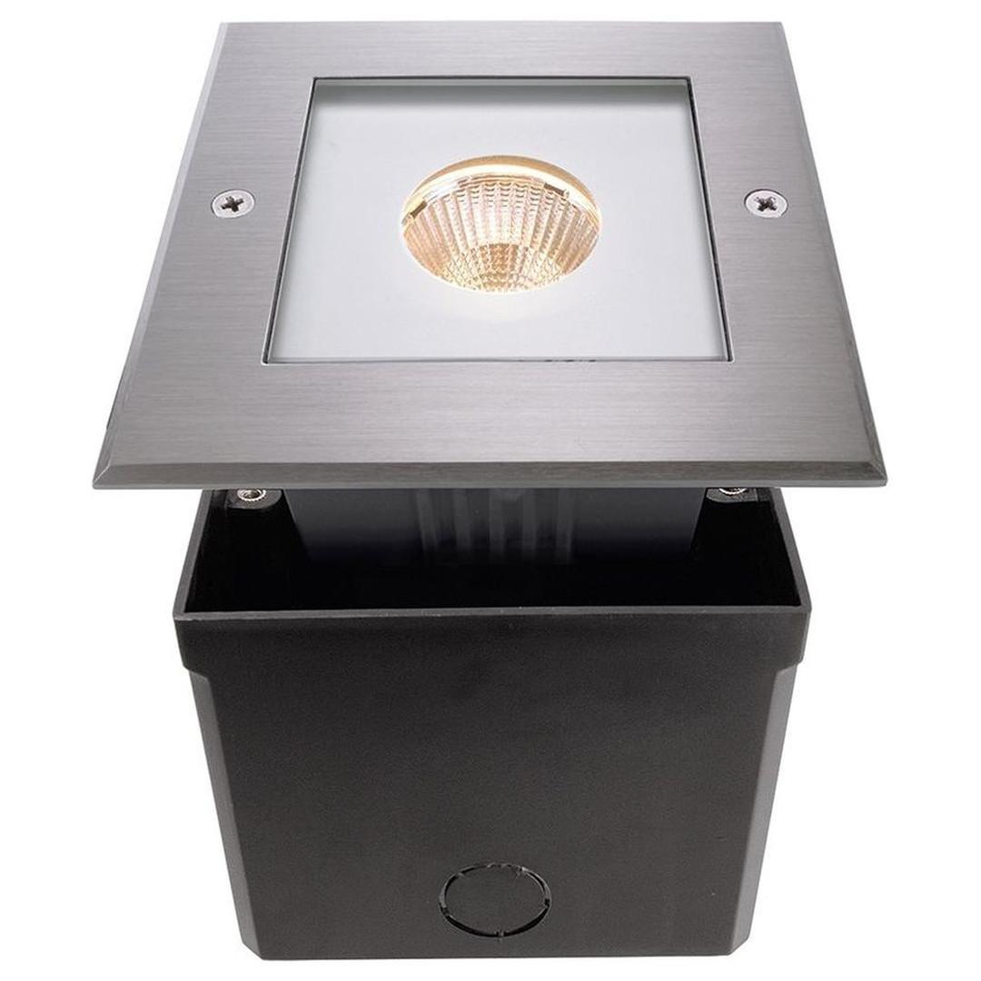 LED Bodeneinbauleuchte Square COB in Silber 6W 3000K IP67 - CL102009