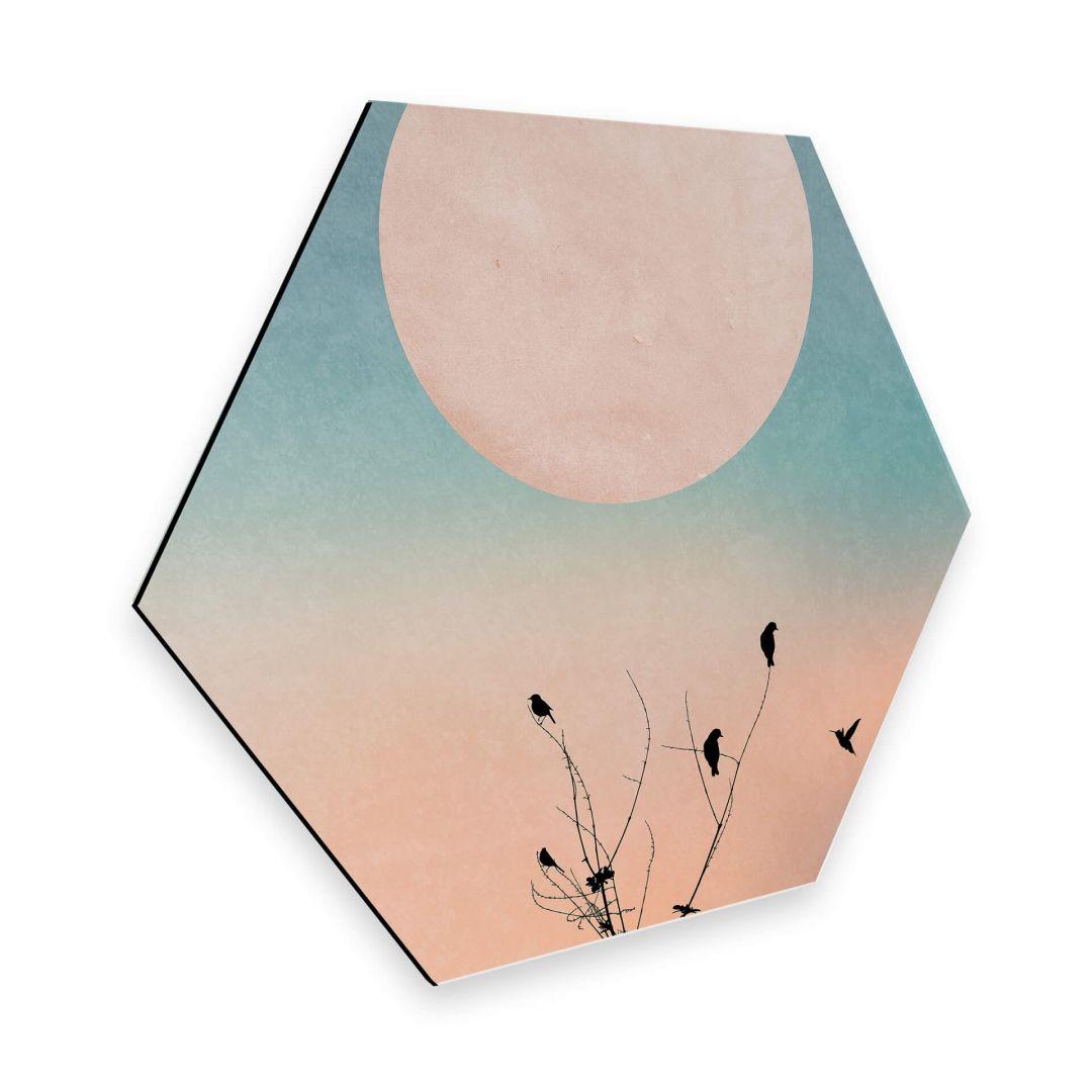 Hexagon - Alu-Dibond - Kubistika - Warmer Morgen - WA253074