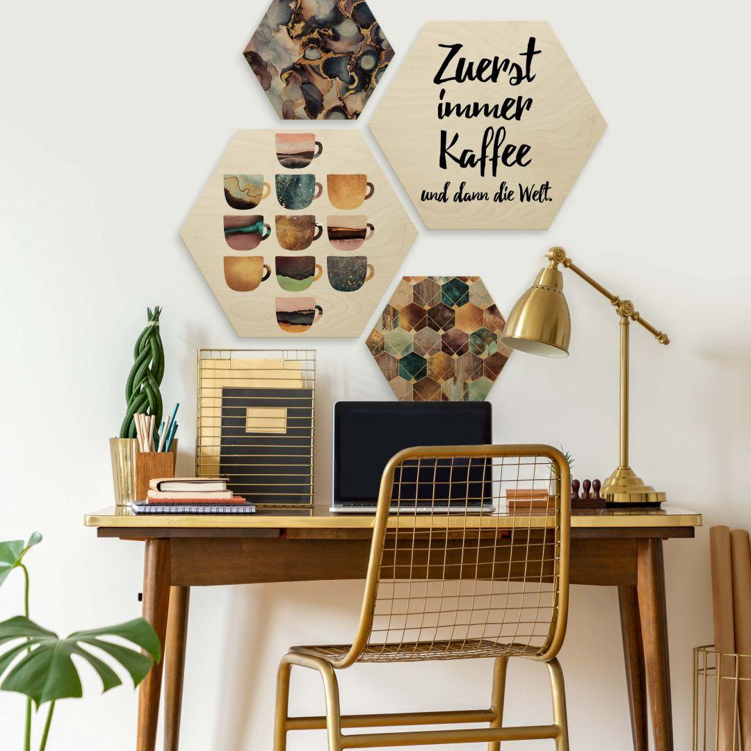 Hexagon - Holz Birke-Furnier - Zuerst immer Kaffee (4er Set) - WA253436