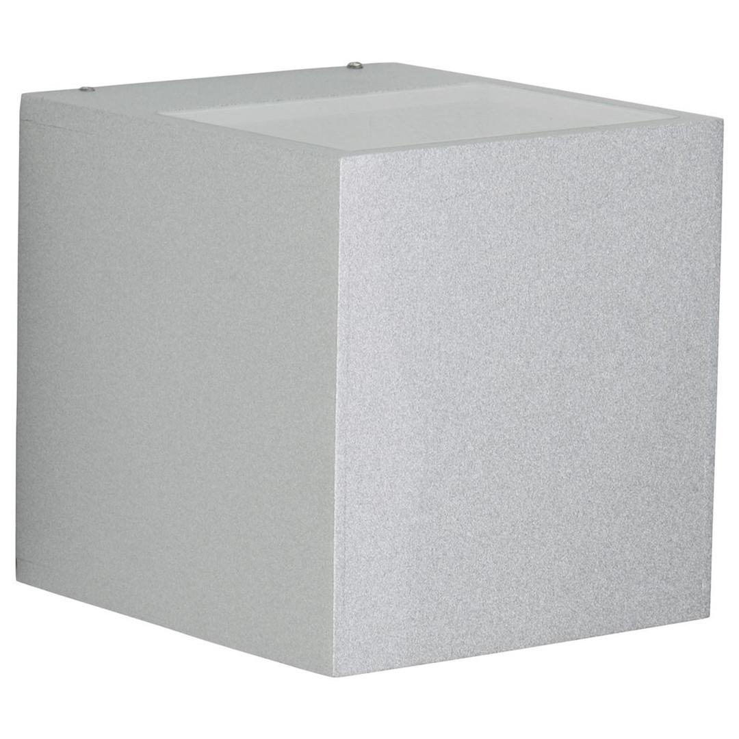Wandleuchte, breit / breit, silber, Aluguss, eckig, Sicherheitsglas, 2x G8.5. IP44 - CL101916