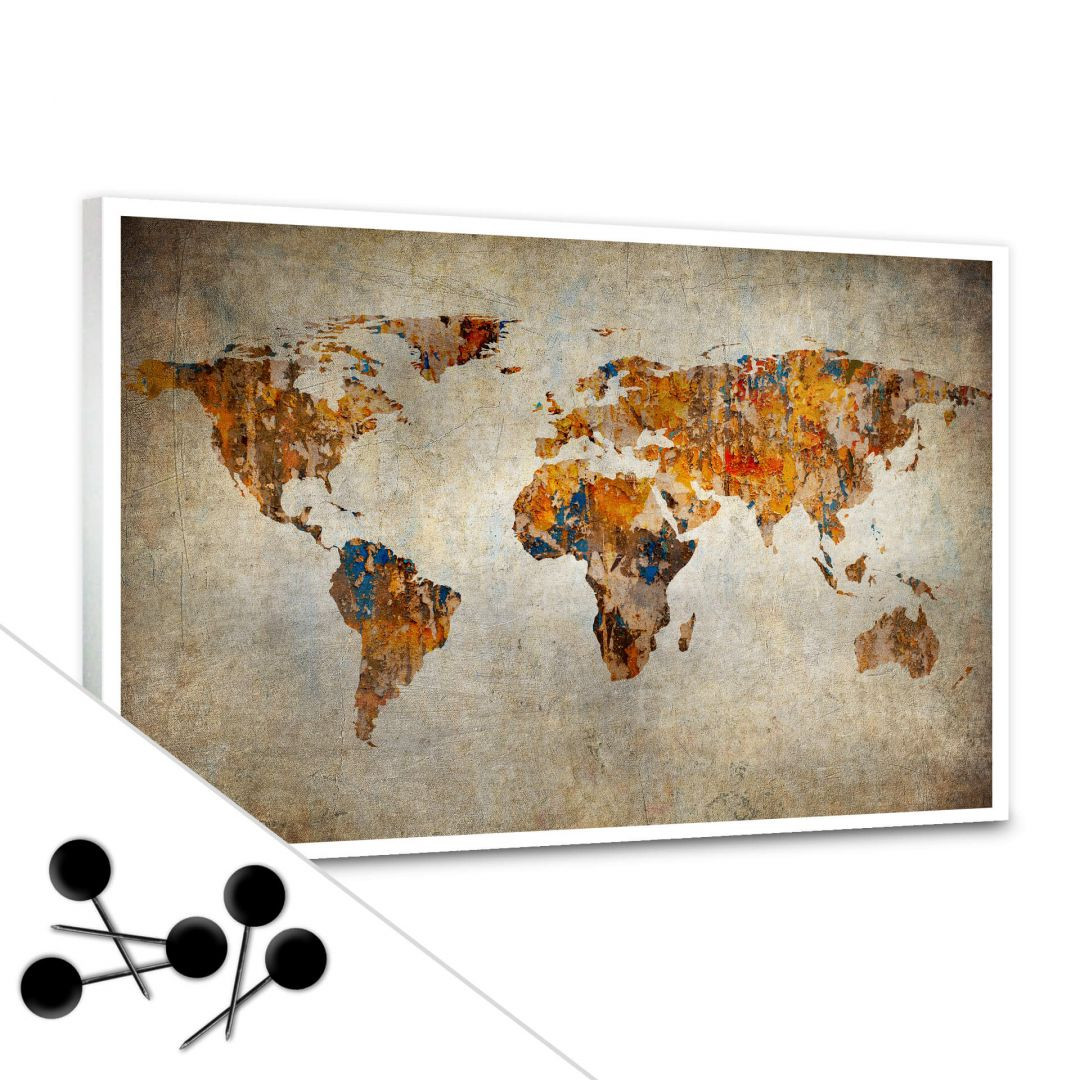 Memoboard Weltkarte - Shabby Chic inkl. 5 Pinnadeln - WA255481