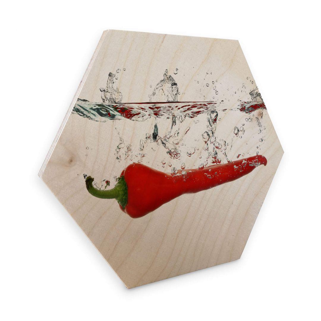 Hexagon - Holz Birke-Furnier - Chilischote - WA253143