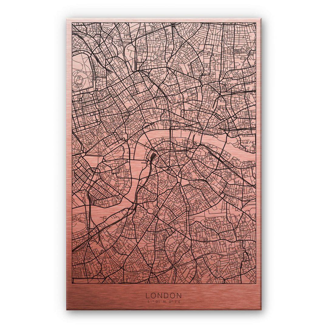 Alu-Dibond-Kupfereffekt Stadtplan London - WA252154