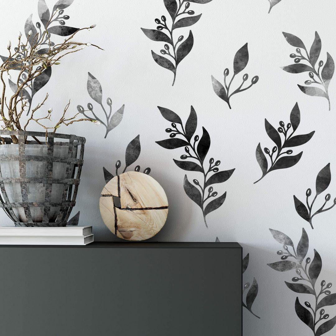 Wandtattoo eingefärbte Zweige mit Beeren schwarz - WA287837
