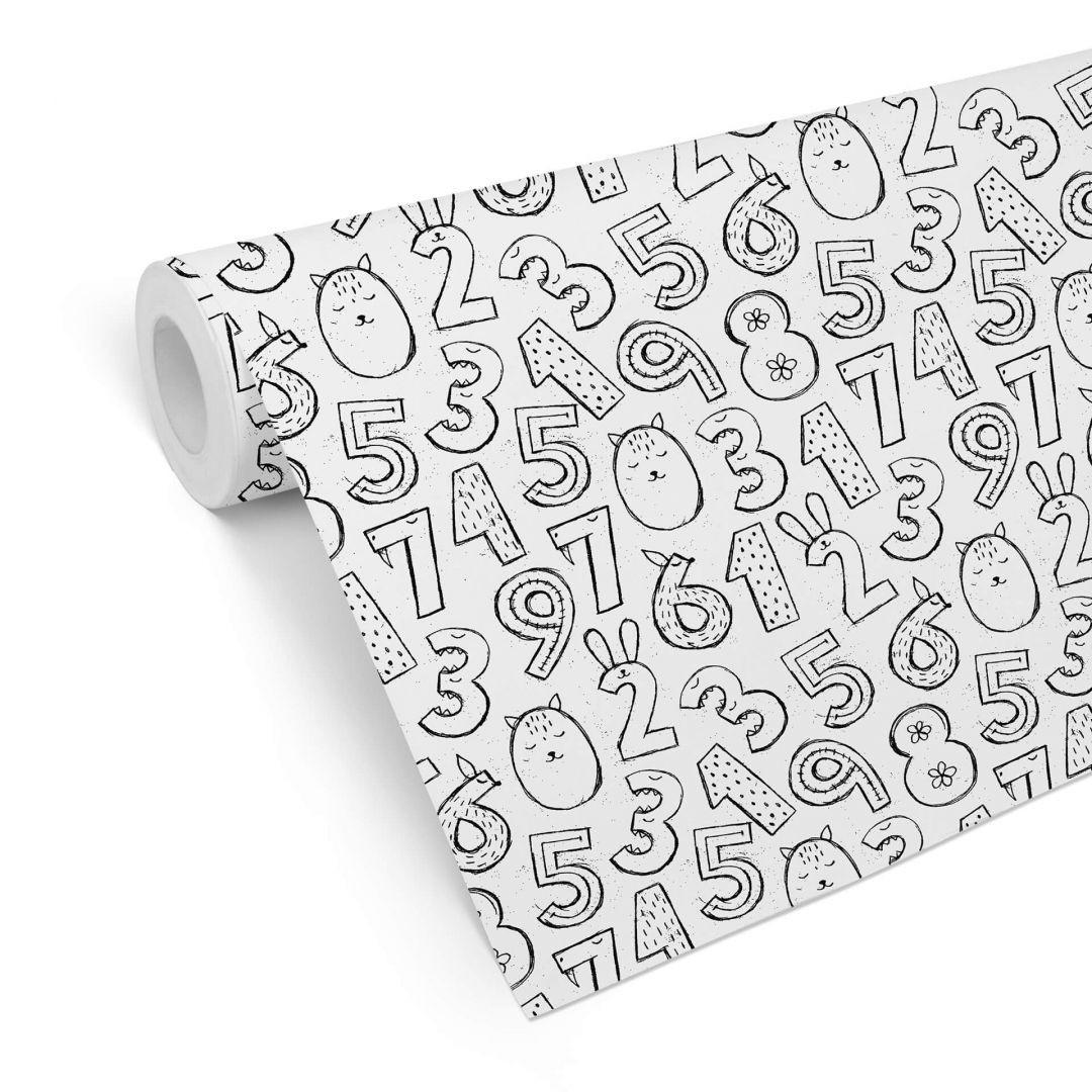 Mustertapete Zahlen 1x1 - schwarz-weiss - WA255601