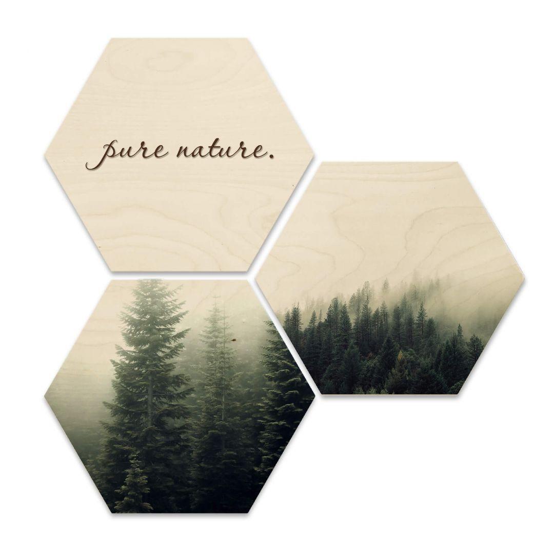 Hexagon - Holz Birke-Furnier - Pure Nature Wald (3er Set) - WA233300