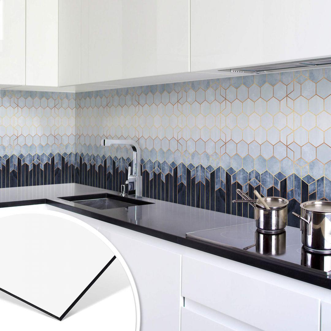 Küchenrückwand Fredriksson - Hexagone: Blau und Weiss - WA253754